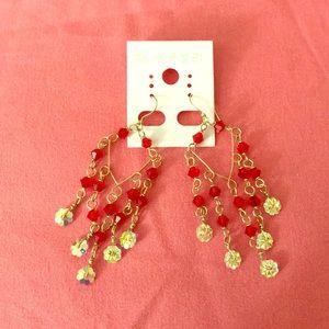 Jewelry - Bicone  red Swarovski dangling earrings